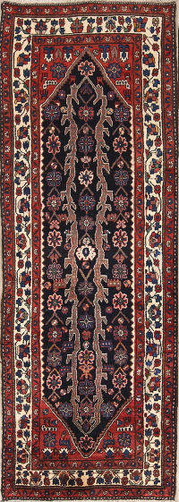 Geometric 4x10 Malayer Hamedan Persian Rug Runner