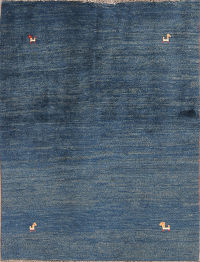 Little Animal Tribal Blue 4x5 Gabbeh Shiraz Persian Area Rug