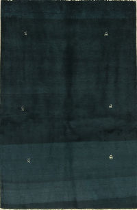 Vegetable Dye Dark Teal 3x5 Gabbeh Zolanvari Persian Area Rug