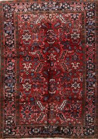 Vintage Geometric Heriz Red Persian Area Rug 6x9