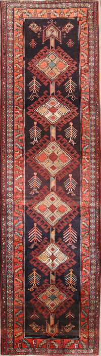 One-Of-a-Kind Geometric Ardebil Persian Runner Wool Rug 4x13