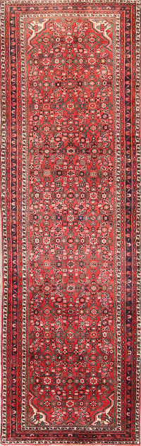 Geometric All-Over 4x12 Hossainabad Hamadan Persian Rug Runner