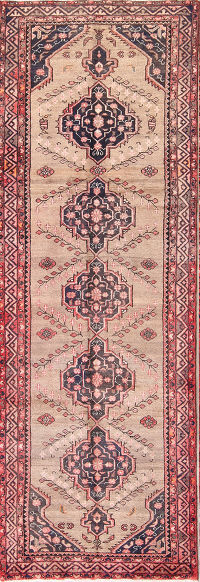Geometric Malayer Hamadan Persian Runner Rug 3x10