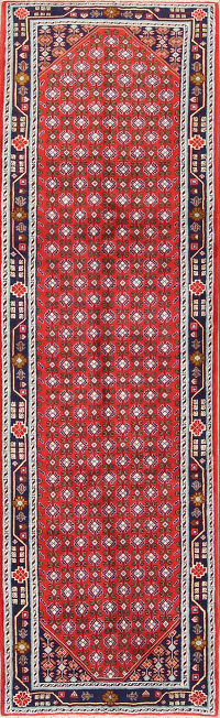All Over Geometric 3x10 Sanandaj Persian Rug Runner
