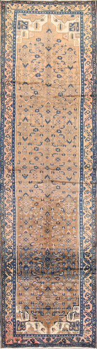 Geometric 4x13 Malayer Hamadan Persian Rug Runner