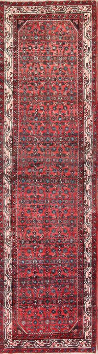 All-Over Red Floral 4x13 Hamedan Persian Rug Runner
