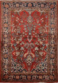 Antique Floral Isfahan Mobarakeh Persian Area Rug 4x6