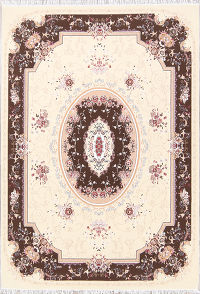 Transitional Floral Aubusson Oriental Ivory/Brown 8x12 Area Rug