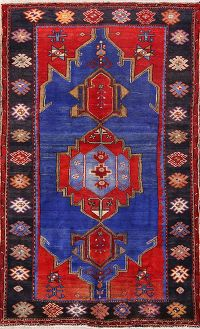 Geometric Royal Blue 5x8 Hamedan Persian Area Rug