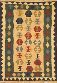 Geometric Yellow 4x5 Kilim Qashqai Persian Area Rug