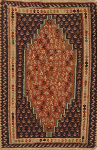 Geometric 4x5 Senneh Geometric Persian Area Rug