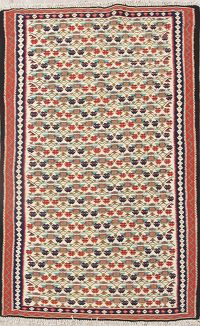 All-Over Geometric 4x6 Kilim Senneh Persian Area Rug
