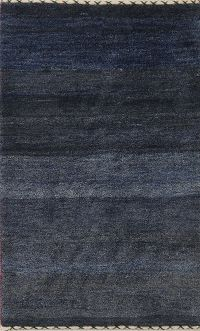 Solid Navy Blue 3x4 Gabbeh Shiraz Persian Area Rug