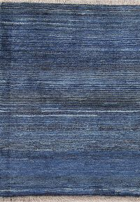 Solid Blue Gabbeh Zolanvari Persian Hand-Knotted 3x4 Wool Rug