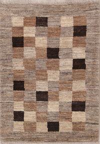 Checked 3x4 Gabbeh Zolanvari Persian Area Rug