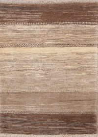 Earth-tone Color Striped Gabbeh Zolanvari Shiraz Persian Modern 3x4 Rug
