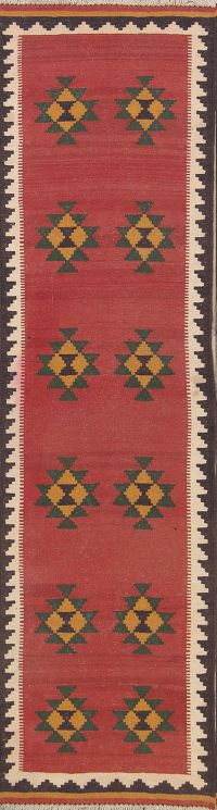 Geometric Kilim Shiraz Persian Hand-Woven 3x10 Wool Runner Rug
