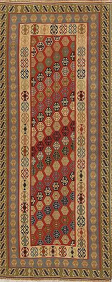 Geometric Red Kilim Qashqai Persian Wool Rug 5x10