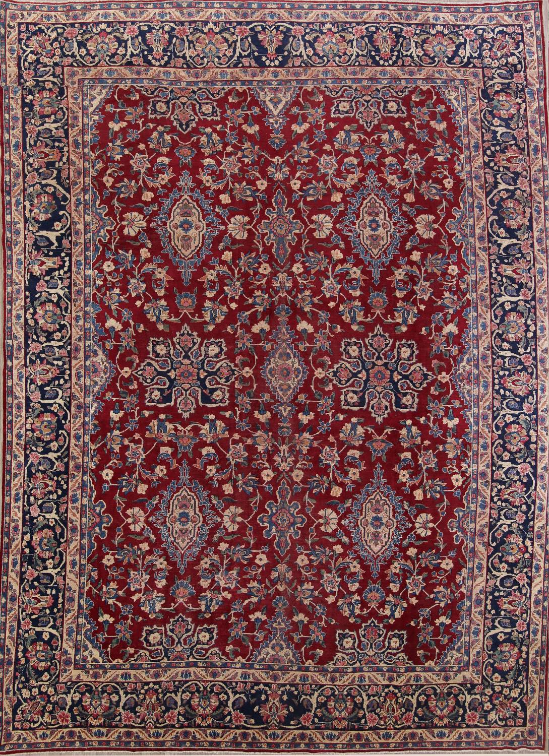 All-Over Floral 11x16 Yazd Persian Area Rug image 1