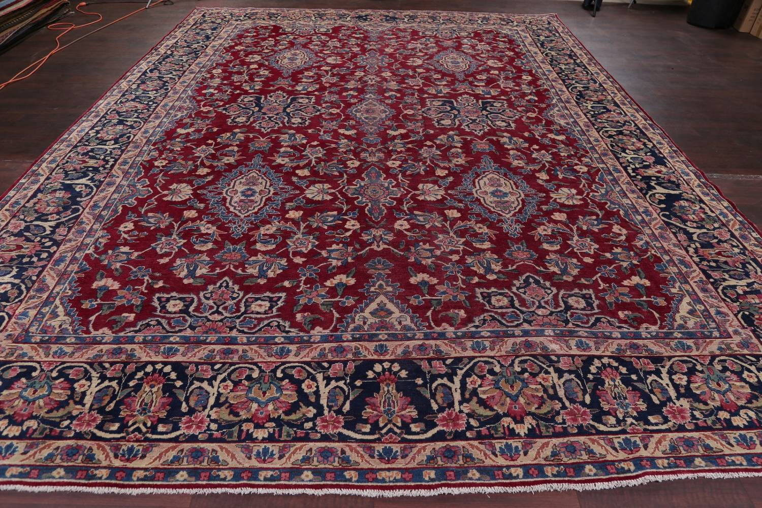 All-Over Floral 11x16 Yazd Persian Area Rug image 18
