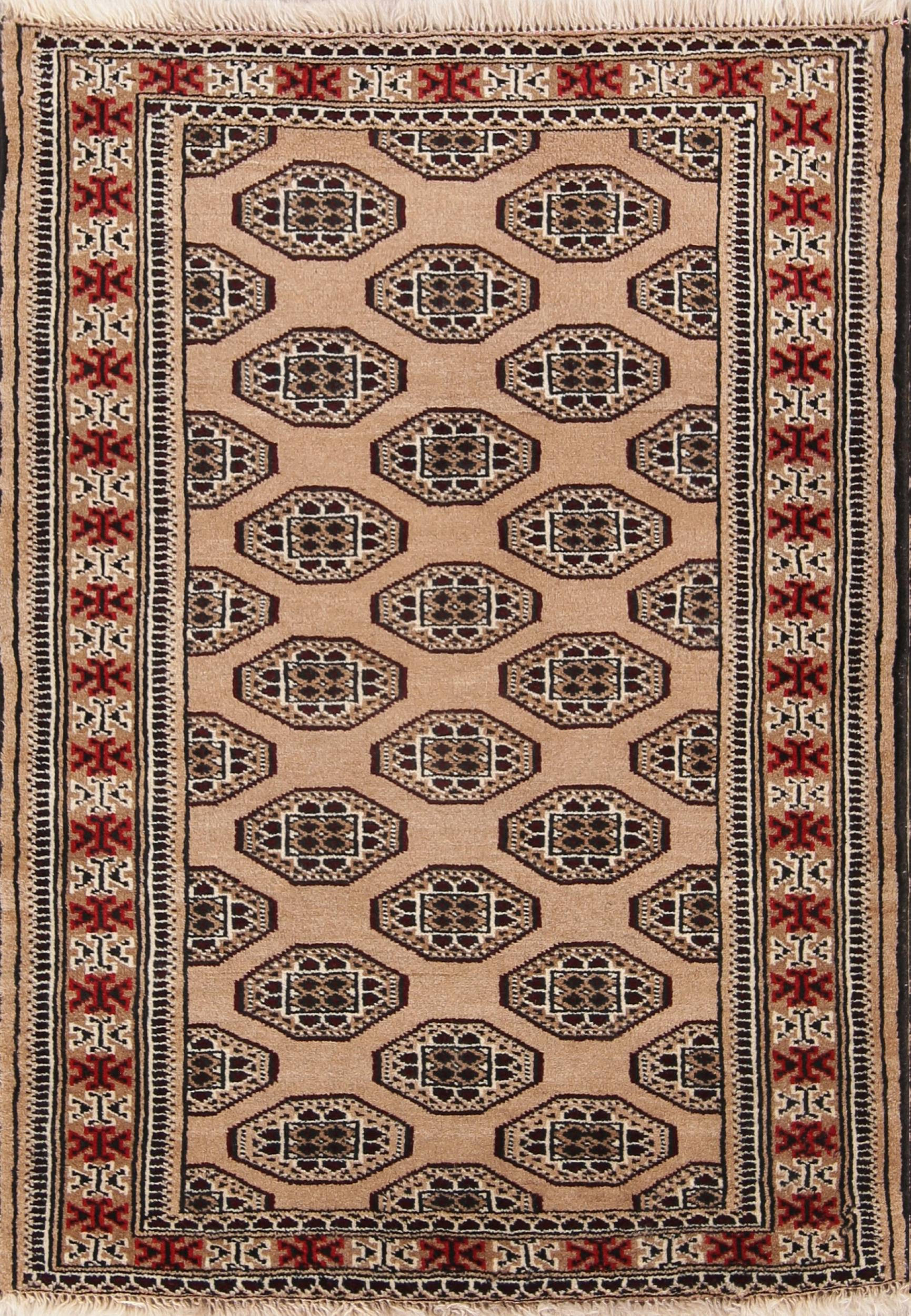 Geometric Beige Brown 3x4 Turkoman Bokhara Persian Area Rug