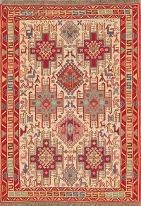 Animal Pictorial Tribal Nomad 4x5 Shiraz Kilim Persian Area Rug