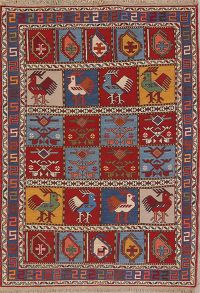 Animals Tribal Nomad 4x5 Kilim Qashqai Shiraz Persian Area Rug