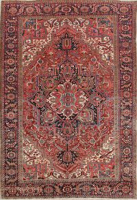 Geometric Vegetable Dye 10x14 Heriz Serapi Persian Area Rug