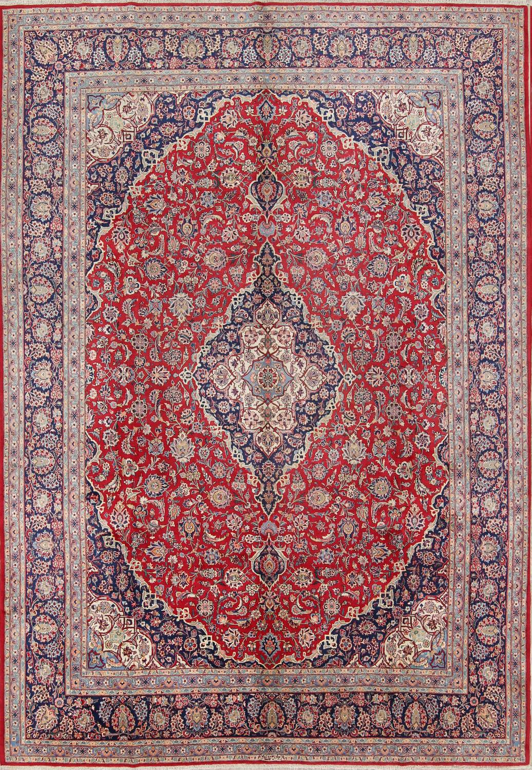 10x14 Kashan Signed Persian Area Rug