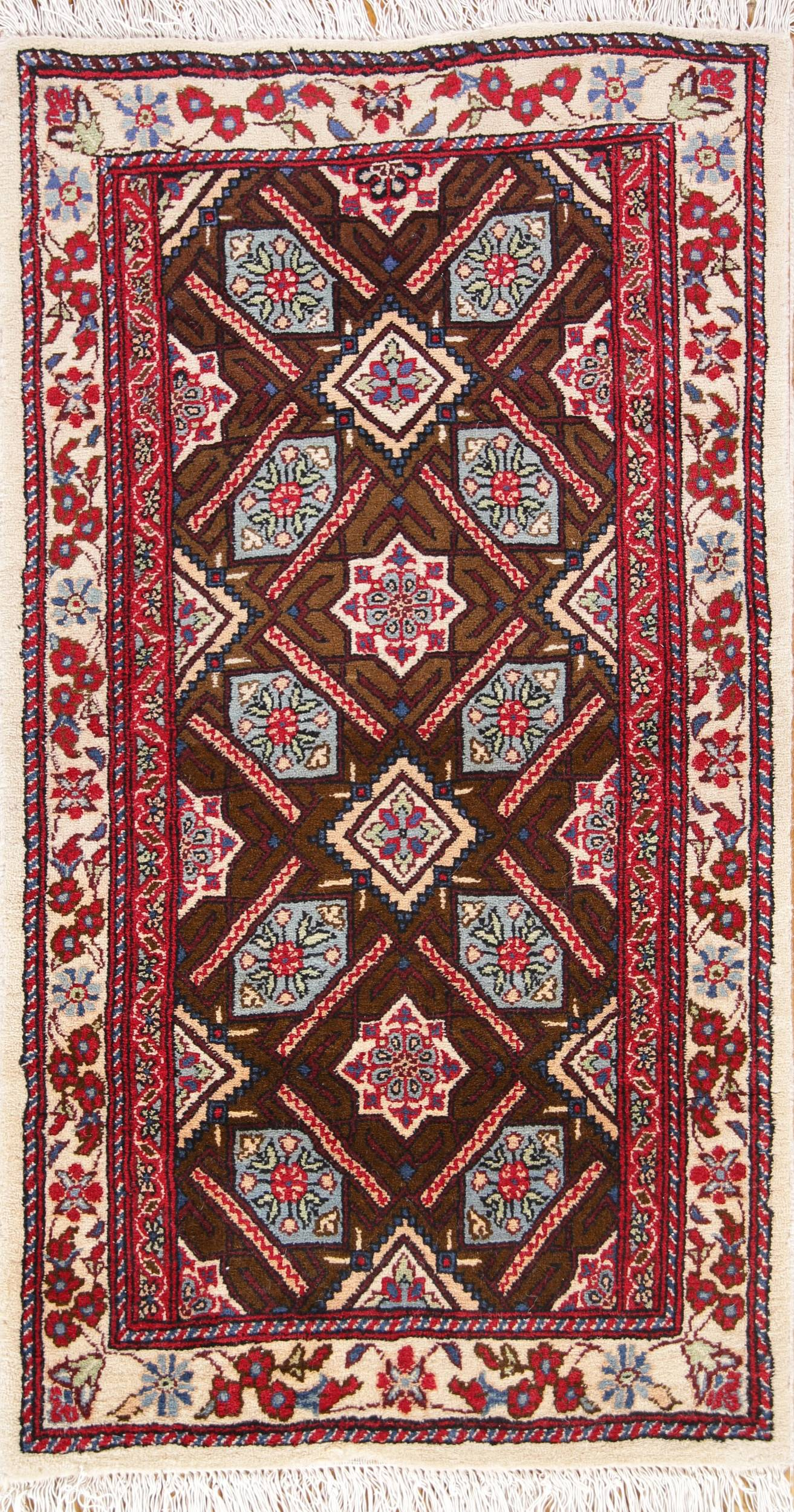 Geometric All Over Foyer Size 2x4 Kashmar Persian Area Rug