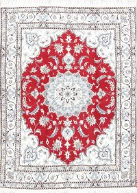 Floral Nain Persian Medallion Area Rug 5x6