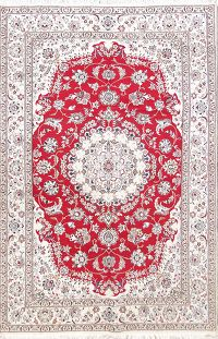 Floral Medallion Red 6x10 Nain Persian Area Rug
