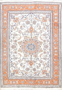 Floral Ivory 7x10 Tabriz Persian Area Rug