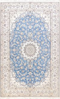 Floral Light Blue 7x11 Nain Persian Oriental Area Rug