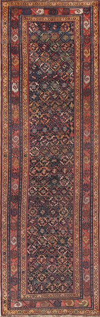 All-Over Geometric Bakhtiari Persian  Rug Runner 4x12