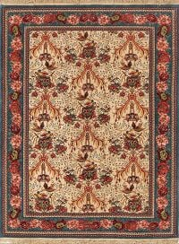 Silk Bird Design 4x6 Vegetable Dye Bidjar Senneh Persian Area Rug
