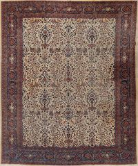 Animals Hunting Design 10x14  Kashan Mohtasham Persian Area Rug