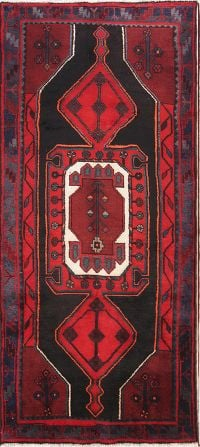 Geometric Tribal Black/Red 4x8 Zanjan Persian Rug Runner