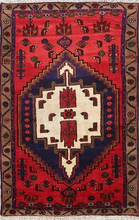 Geometric Tribal Hamedan Persian Area Rug 4x5