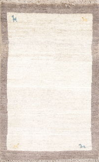 Little Characters Tribal Ivory Abstract 3x4 Gabbeh Shiraz Persian Area Rug