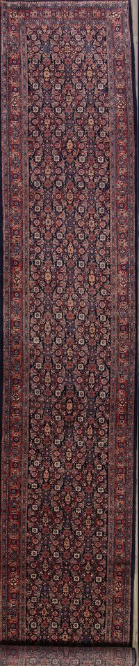 All-Over Geometric 3x20 Herati Tabriz Persian Rug Runner