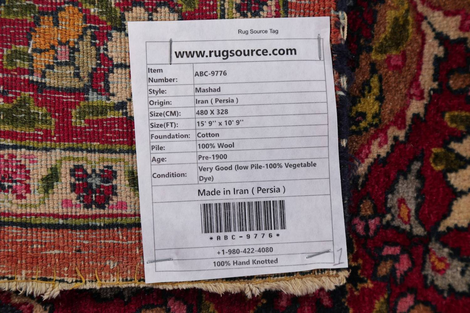 All-Over Floral 11x16 Mashad Persian Area Rug image 32