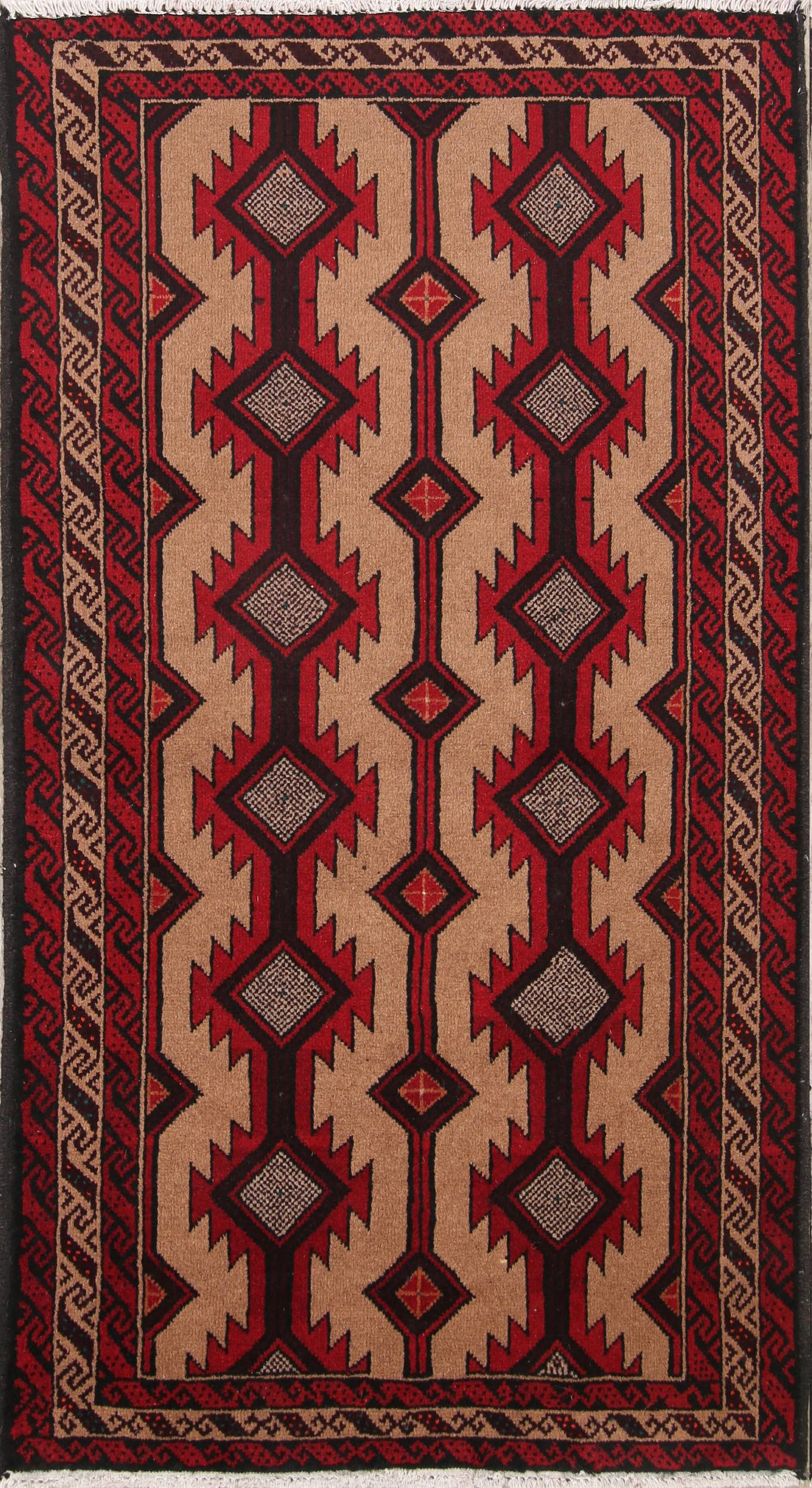 All-Over Geometric 3x6 Balouch Persian Rug Runner