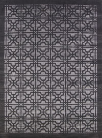 Geometric Machine Made Belgium Oriental Area Rug Black 6x9