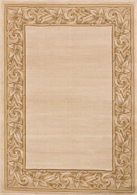 Floral Solid Machine Made Belgium Oriental Area Rug Beige