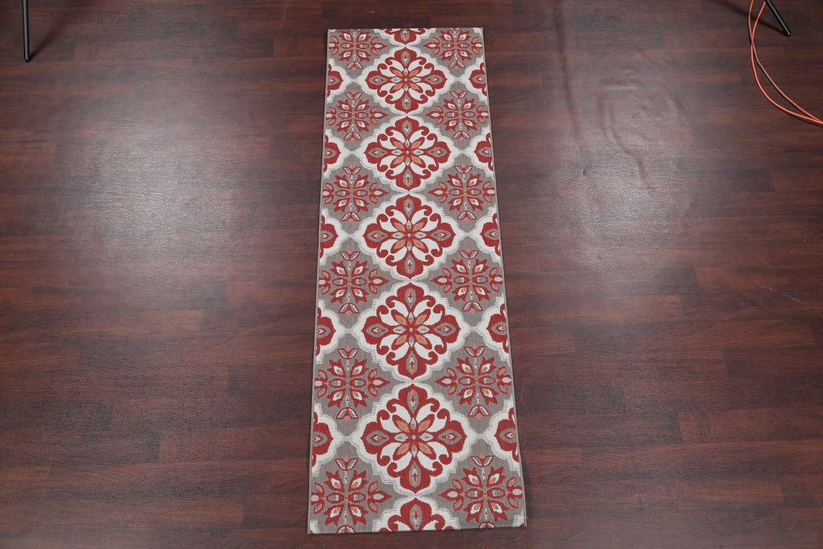 Red/Silver Transitional Floral Belgium Oriental Runner Rug 2x8 image 2