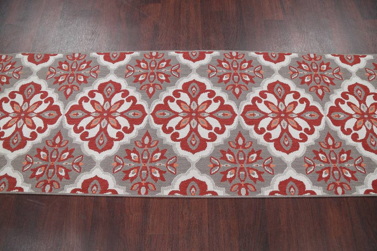 Red/Silver Transitional Floral Belgium Oriental Runner Rug 2x8 image 3