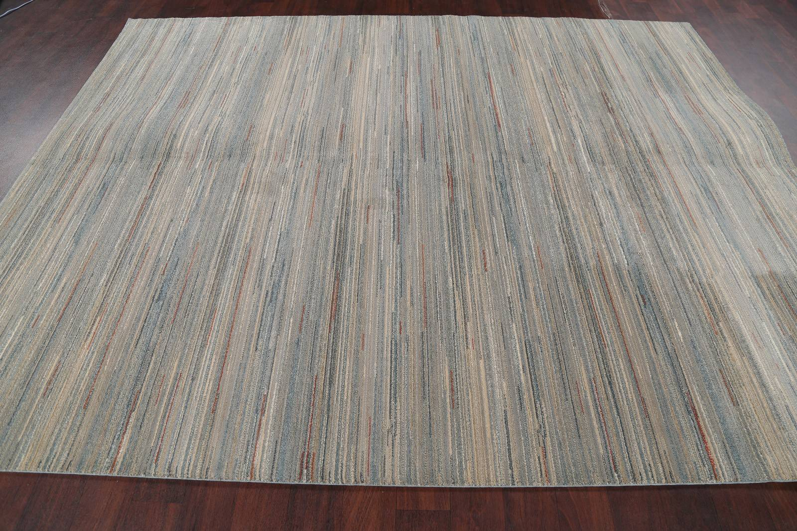 Stripe Grey Machine Made Belgian Oriental Area Rug 8x10