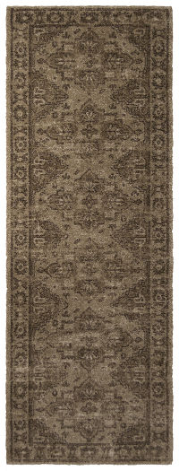 Geometric Machine Made Belgian Oriental Area Rug Brown