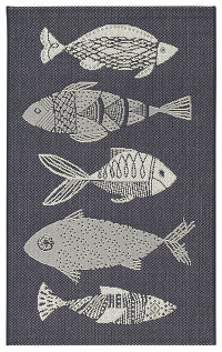 Nautical 3x4 Belgium Oriental Indoor/Outdoor Rug Navy Blue